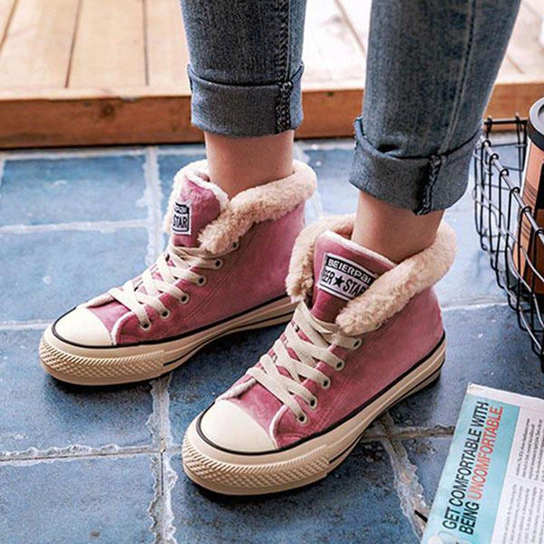 Platform Warm Suede Lace-up Womens Canvas Snow Sneakers Shoes
