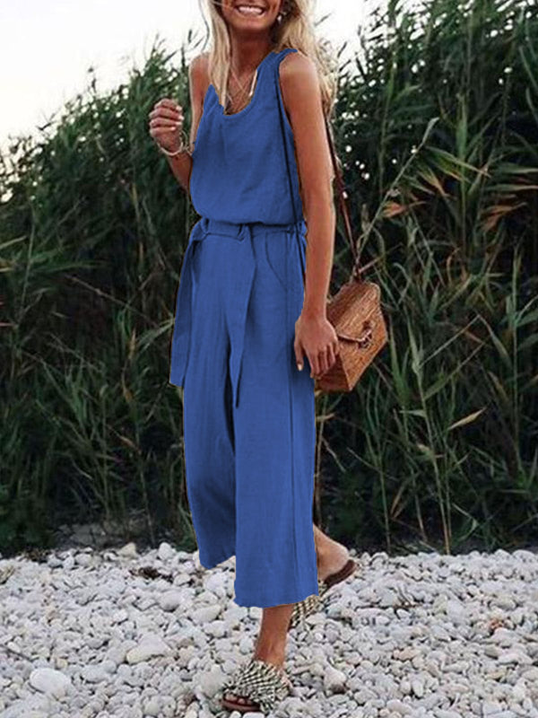 Sleeveless V Neck Casual Straps Jumpsuit Rompers