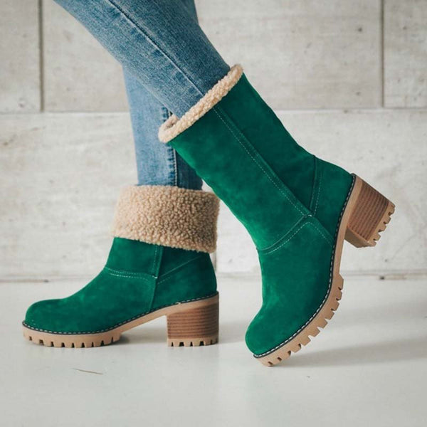 Women Warm Skylar Fur Heel Square Heels Ankle Snow Boots/Booties