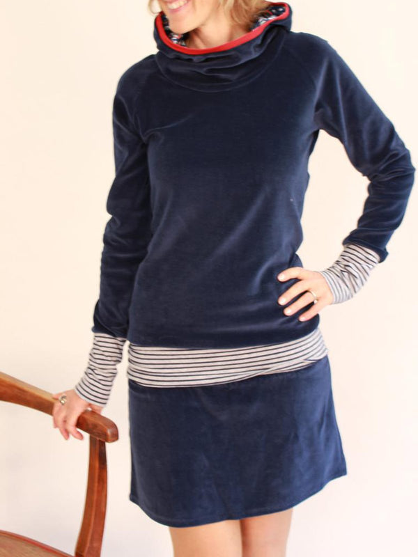 Long Sleeve Paneled Stripes Hoodie Dresses