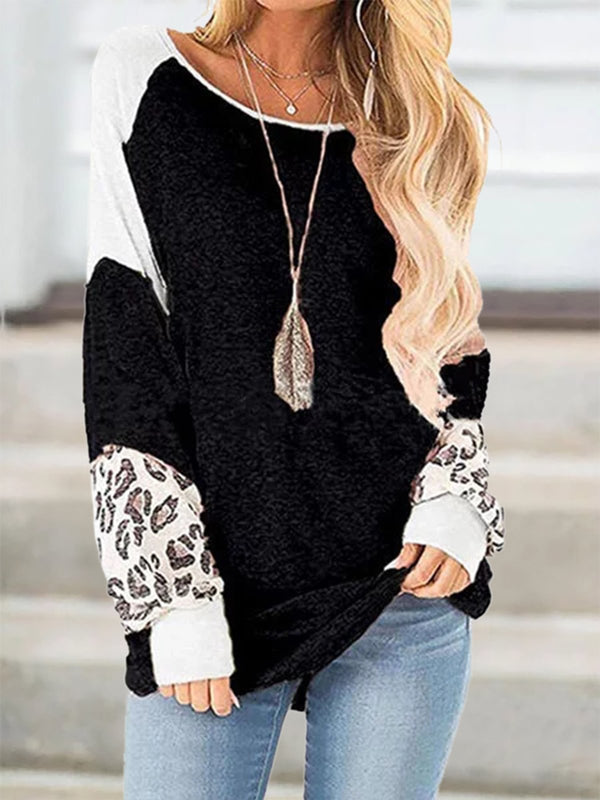 Long Sleeve Casual Leopard Print T-Shirts