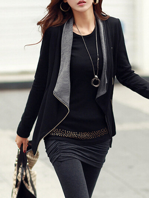 Black Shawl Collar Casual Plain Cotton Outerwear