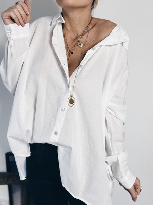 White Solid Turn-Down Collar Cotton-Blend Casual Tops