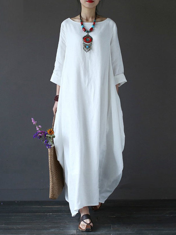 Women Oversized Round Neck 3/4 Sleeve Tunic Casual Maxi Long Shirt Dress