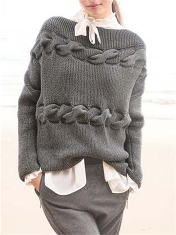 Casual Cotton Long Sleeve Plain Sweater