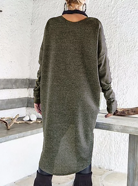 Long Sleeve Asymmetric Casual Acrylic Knitwear