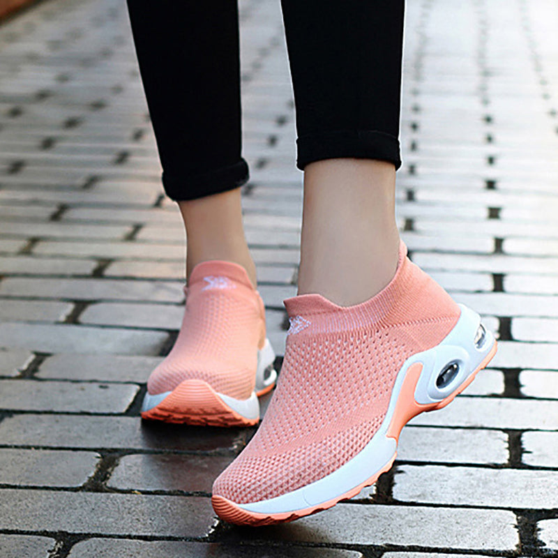 Flyknit Fabric Slip On Sneakers Comfortable Sports Shoes