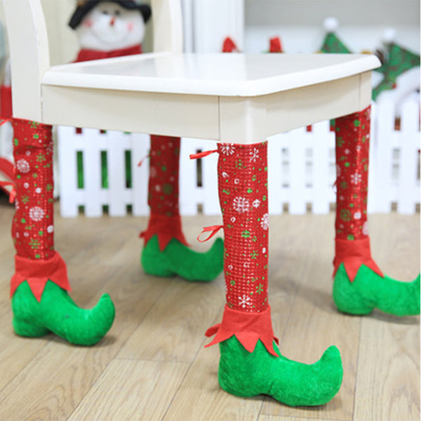 1pc Christmas Chair Table Leg Covers Christmas Table Decoration