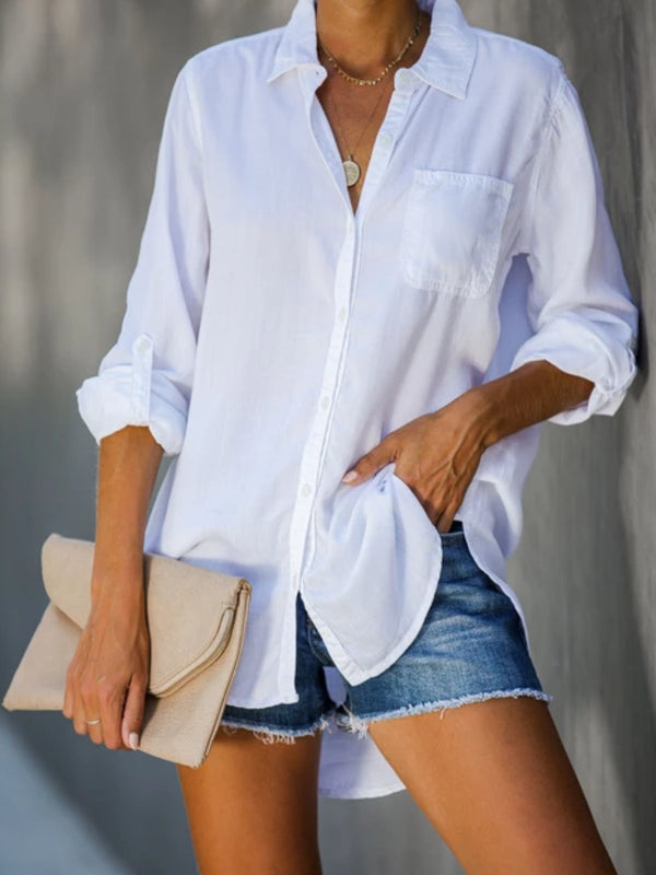 White Holiday Solid Cotton-Blend Shirts & Tops