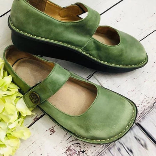 Women Casual Pu Alegria Paloma Green Mary Jane Loafers