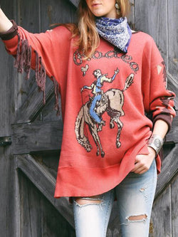 Red Long Sleeve Cotton-Blend Printed plus size Sweater