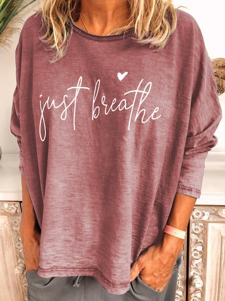 Letter Casual Long Sleeve Cotton-Blend Shirts & Tops