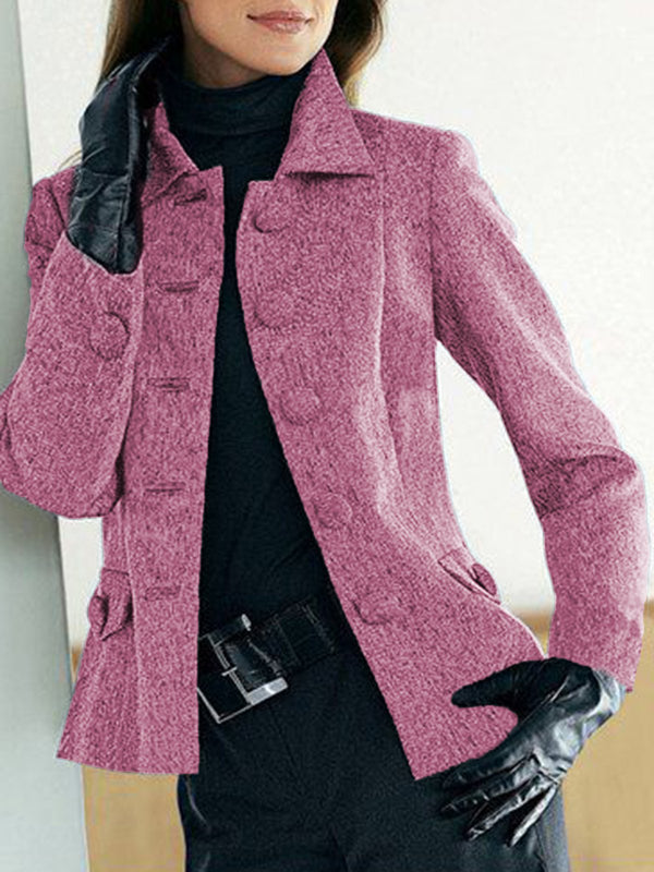Solid Buttoned Pockets Jacket Plus Size Shawl Collar Coat