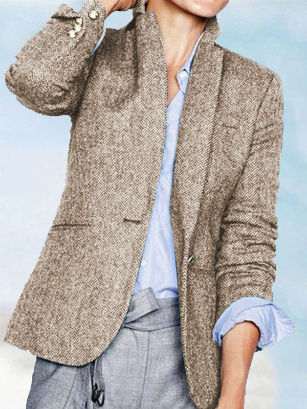 Blue Tweed Long Sleeve Buttoned Outerwear