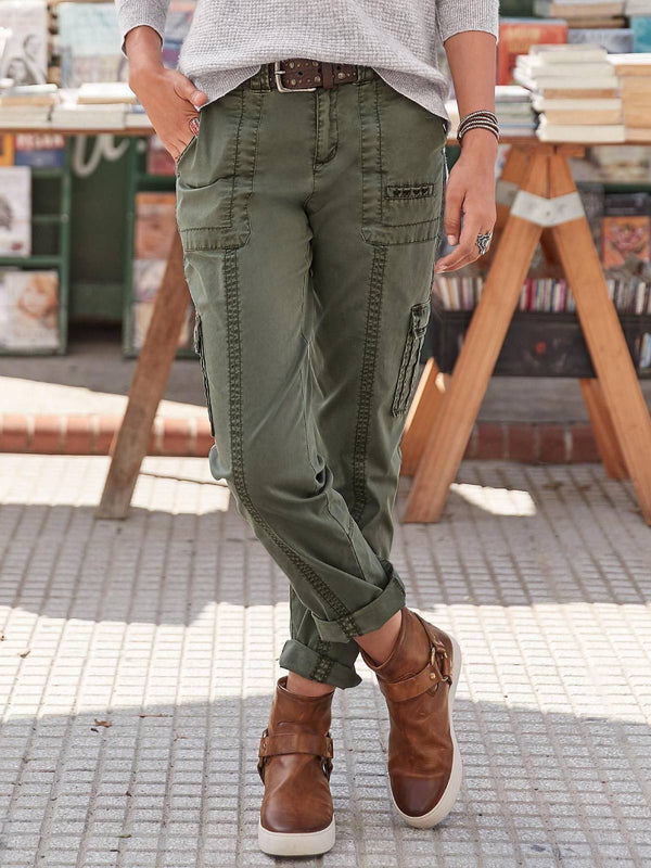 Army Green Solid Casual Plus Size Pants