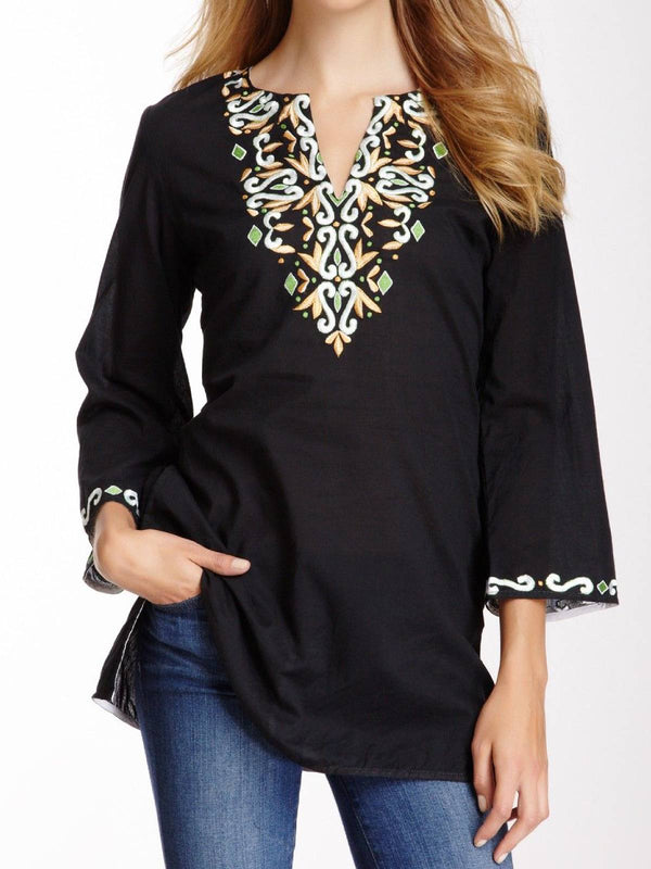 Black V Neck 3/4 Sleeve Plus Size Blouse