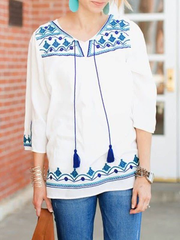 White Crew Neck 3/4 Sleeve Floral Plus Size Blouse