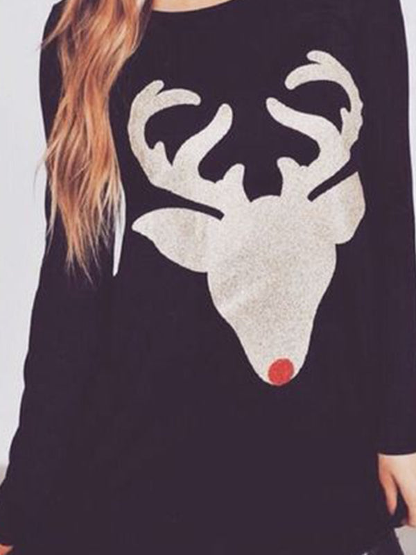 Christmas long sleeve long round neck sweatshirt