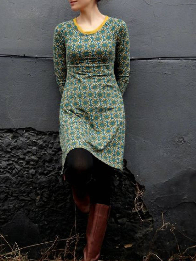 Green Cotton-Blend Vintage Tribal Dresses