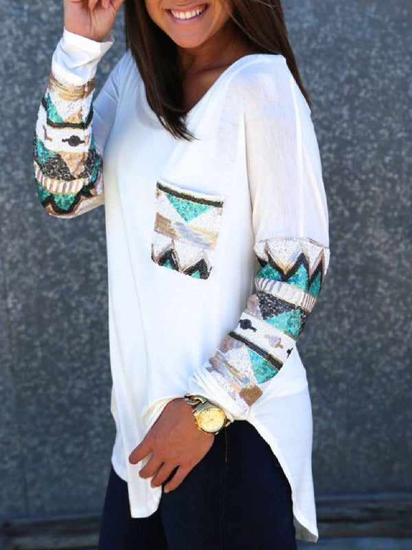 Long Sleeve Patchwork Pockets Casual Tops