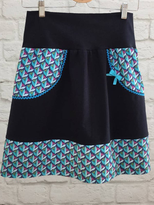 Black Floral Casual Cotton-Blend Skirts