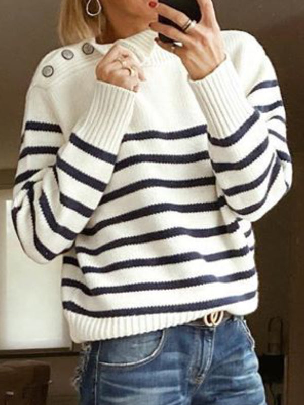 Buttoned Casual Knitted Striped Sweater