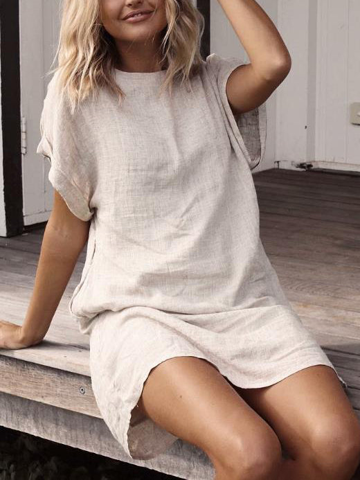 Women Casual Solid Casual Short Sleeve Dresses