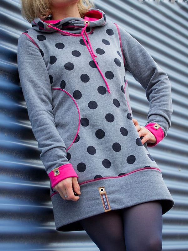 Polka Dots Casual Hoodie Cotton-Blend Dresses