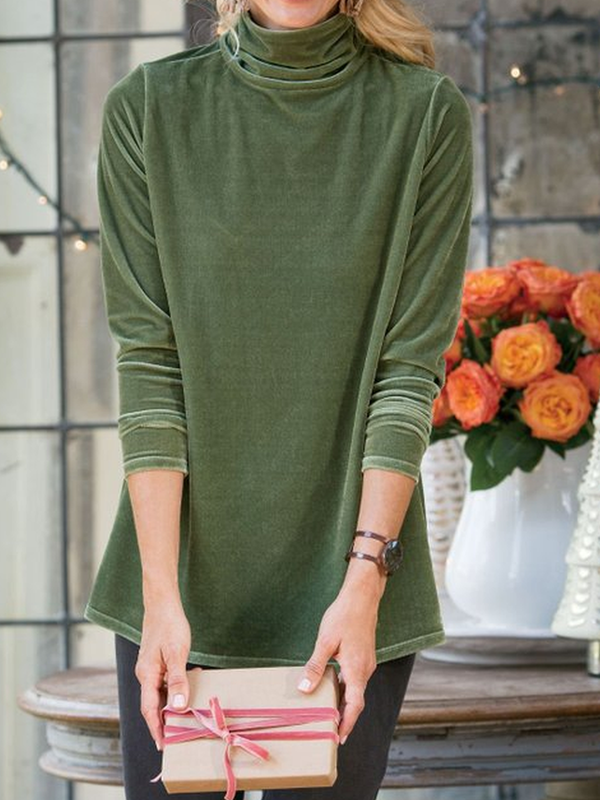 Solid Velvet Cowl Neck Casual Shirts & Tops