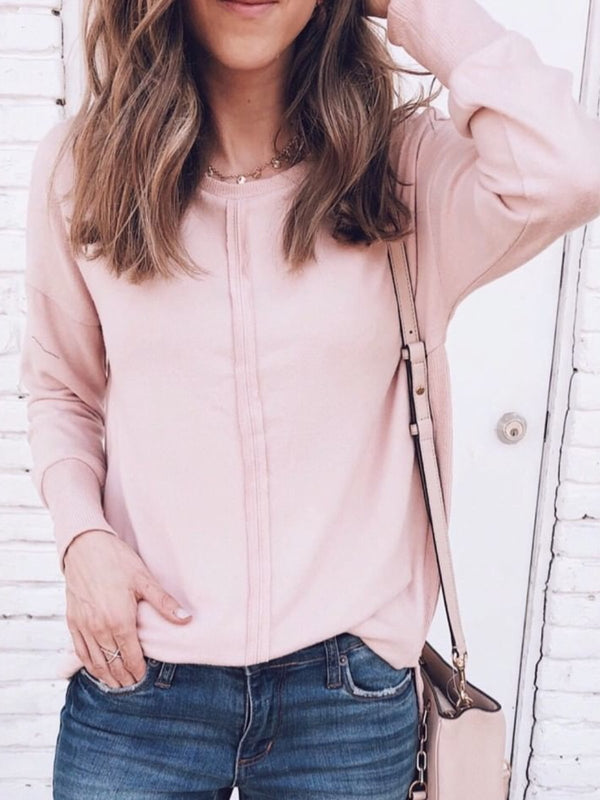 Plus Size Solid Casual Crew Neck  Long Sleeve Tops