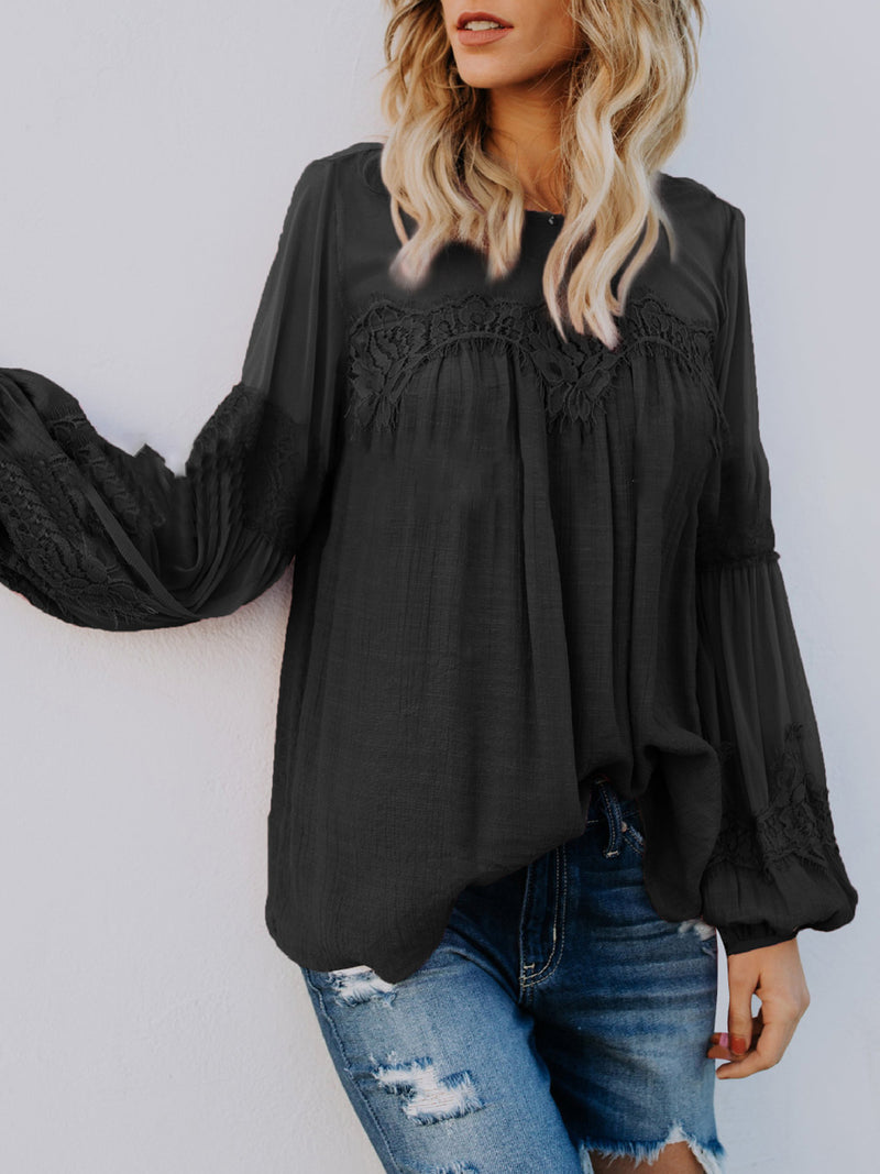 Long Sleeve Solid Basic Polyester Blouses & Shirt
