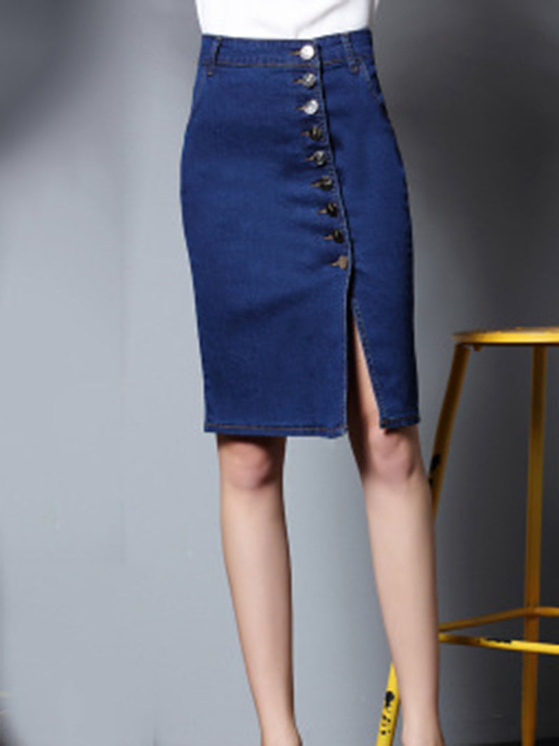 Buttoned Slit Plain Sheath Denim Casual Pockets Plus Size Skirt