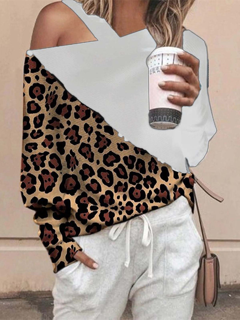 Leopard-Print Casual One Shoulder Color-block Shirt