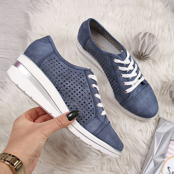 Blue Faux Leather Hollow-Out Wedge Heel Sneakers