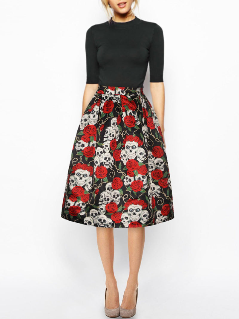 Floral Halloween Gathered A-line Statement Skirt