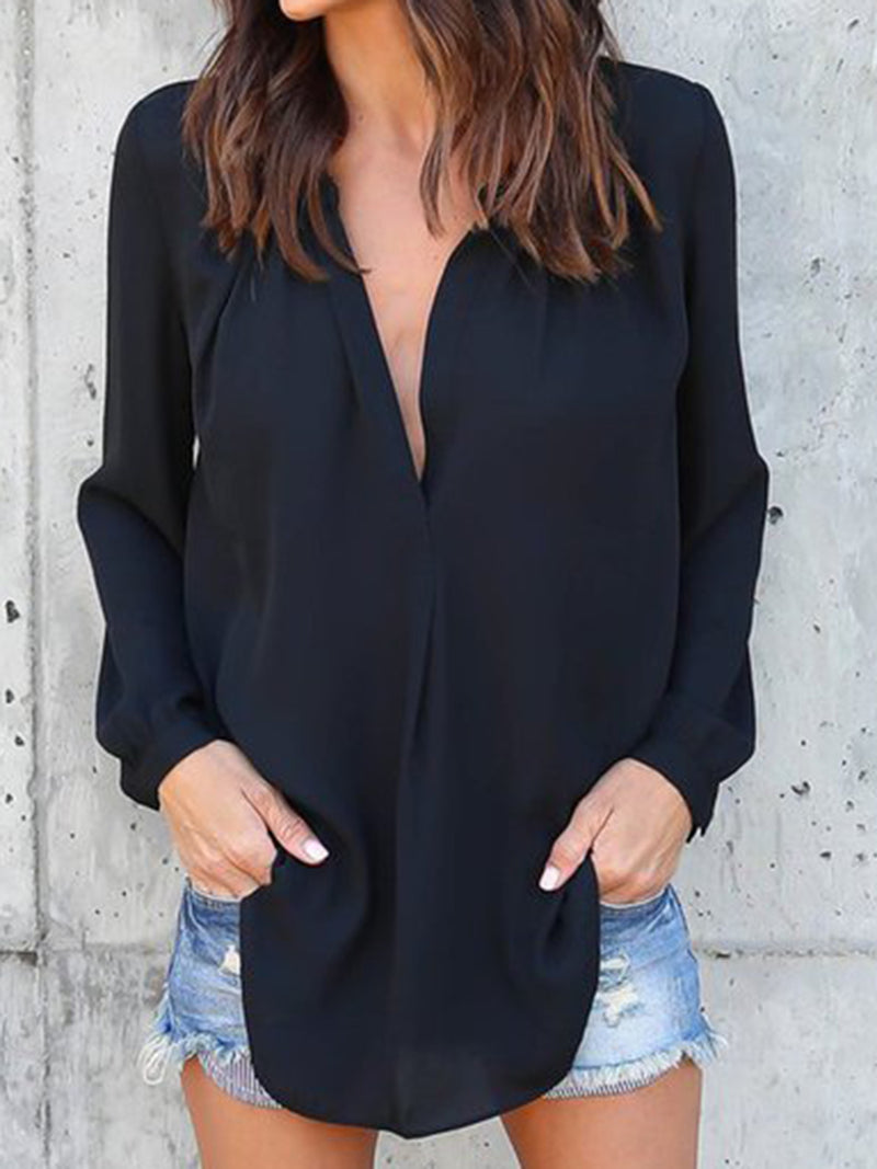 Long Sleeve Casual V Neck Tops