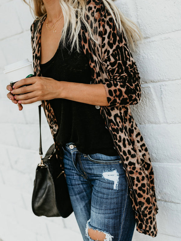 Leopard Buttoned Knitted Casual Quilted Coat