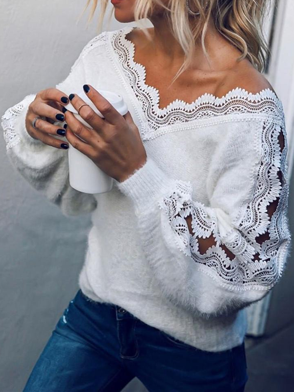 White Cotton V Neck Long Sleeve Sweater