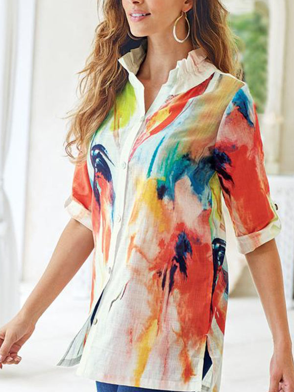 Casual  Printed Turn-down Collar Half Sleeve Blouse