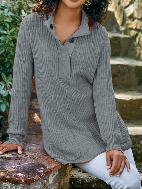 V Neck Long Sleeve Waffle Knit Loose Tee Tops Plain Collar Knitwear