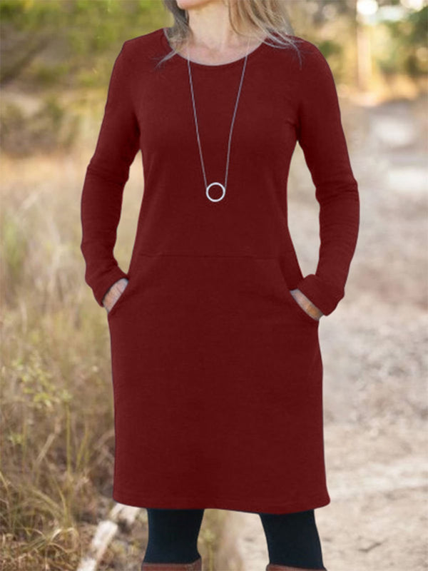 Solid Long Sleeve Casual Dresses