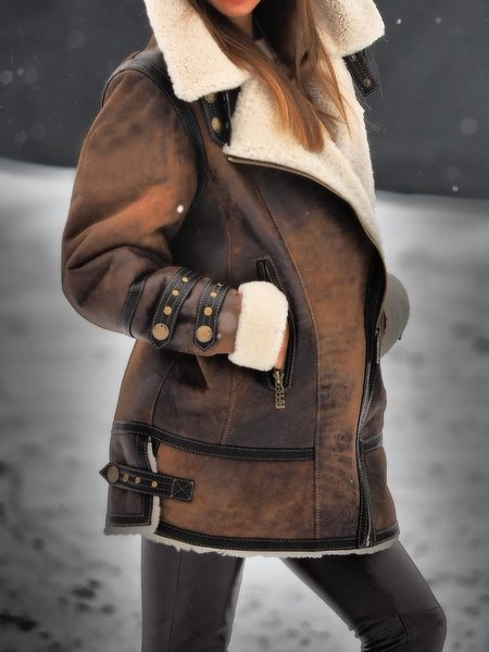 Women Winter Warm Fluffy Coat Faux Leather Jacket Long Sleeve Outerwear