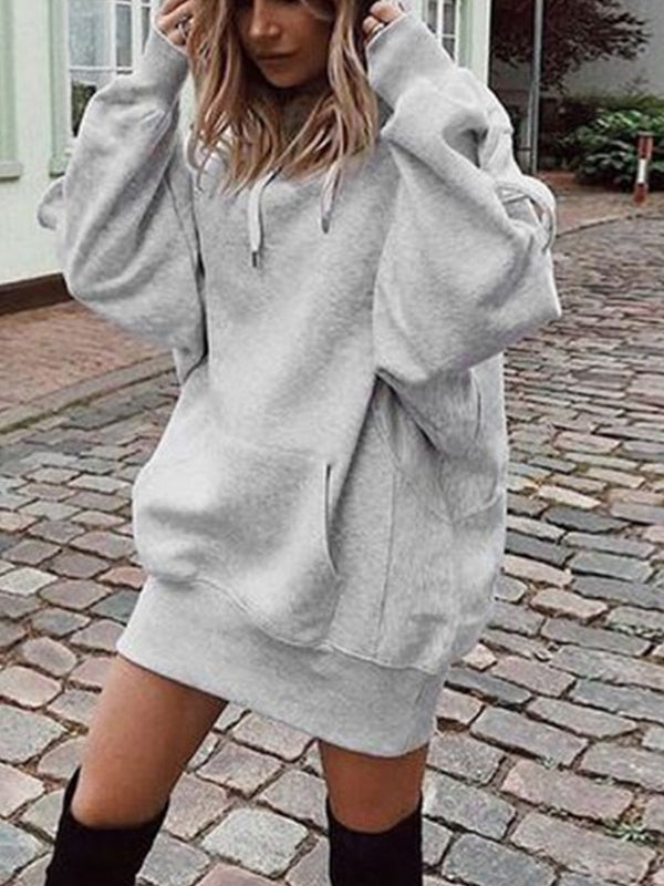 Plain Hoodie Long Sleeve Sweatershirts Dress