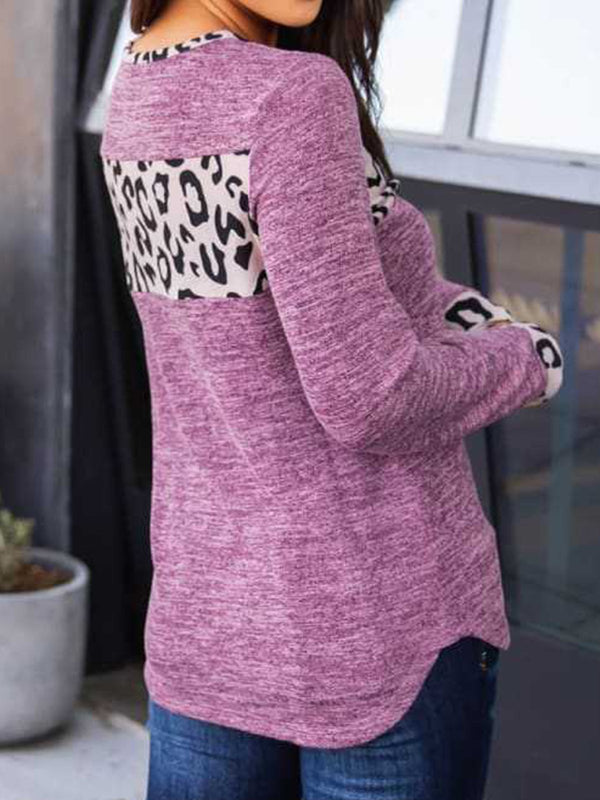 Purple Paneled Long Sleeve Leopard Print Tops