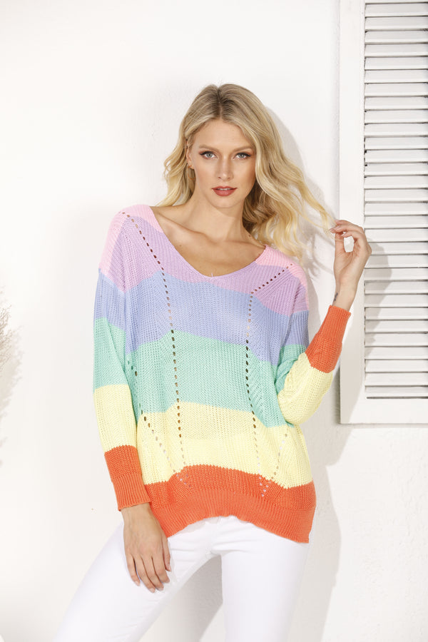 Multicolor Paneled Shift Striped Casual Sweater