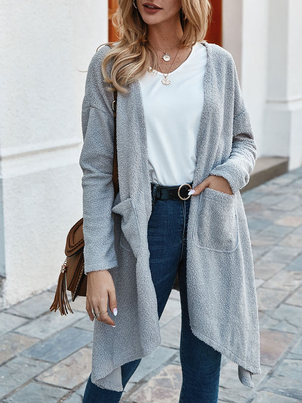 Gray Pockets Long Sleeve Solid Shift Outerwear