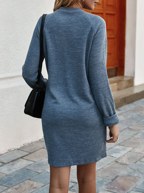 Gray Crew Neck Paneled Lycra Casual Mini Dress