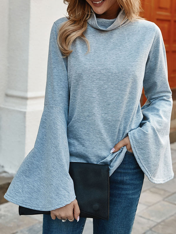 Gray Solid Cowl Neck Shift Casual Tops