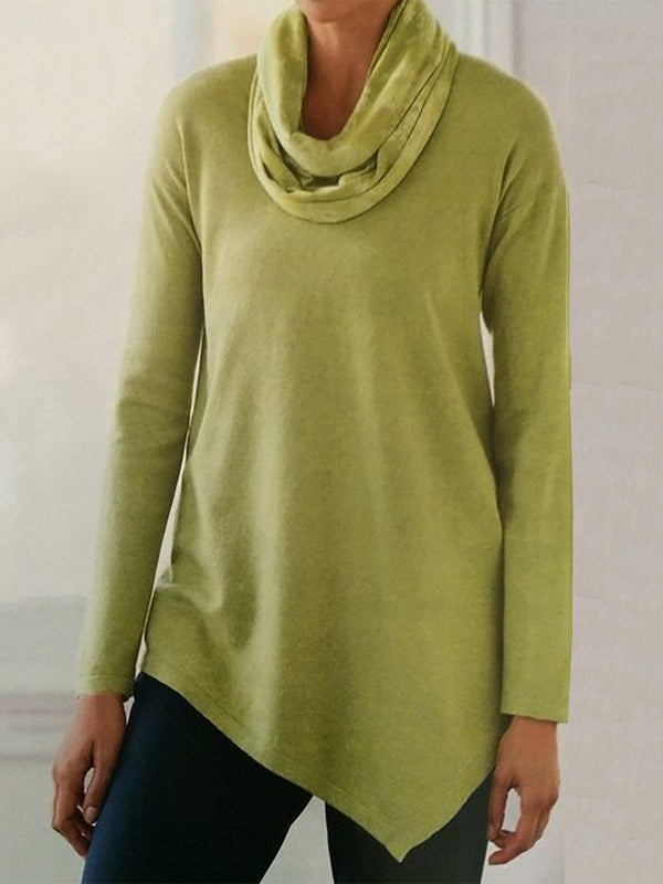 Women Cowl Neck Long Sleeve Tops