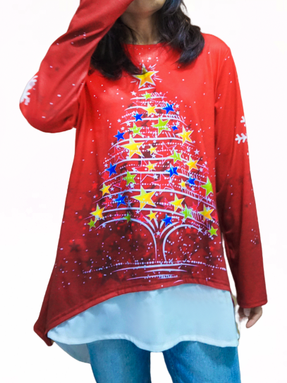 Red Holiday Cotton-Blend Shirts & Tops